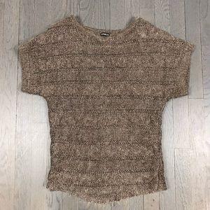 Express Short Sleeve Sparkle Short Sleeve Sweater